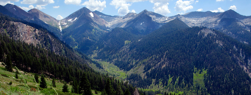 The resplendent Mineral King Valley, as seen from the trail returning to the valley from Timber Gap.