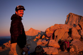 I should have taken a picture of the two of us, but I was focused on getting the perfect sunset mountain photo. Fortunately, I snapped this one of Sam. His smile sums up how we were both feeling. (Chris Jordan-Bloch / Earthjustice)